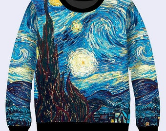 Starry Night By Vincent Van Gogh - Men's Women's Sweatshirt | Sweater full print all sizes