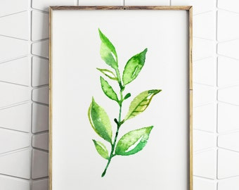 greenery printable, leaf printable, leaf wall art, leaf decor print, botanical decor, instant download, digital leaf art