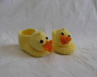 Crocheted, soft, baby duckie booties