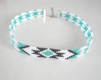 Hand laced choker made of Miyuki beads number 11