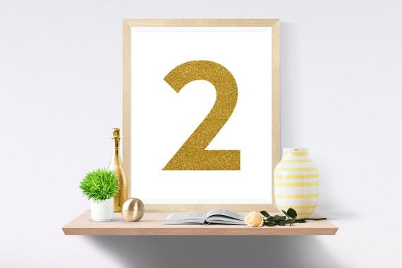 Printable Art, Number 2, Gold, Art Prints, Wall Art, Art Print, Wall Prints, House Number, Table Printable, Instant Download, Modern Art