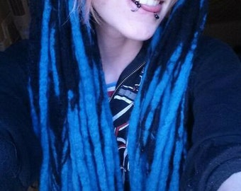 SALE!! 60 DE Wool Dread Extensions | black and blue transitional