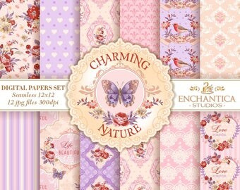 Digital Paper Shabby Chic, Shabby Chic Digital Paper, Shabby Chic Digital Pattern, Shabby Chic Digital Background, Pink Digital Paper, Roses