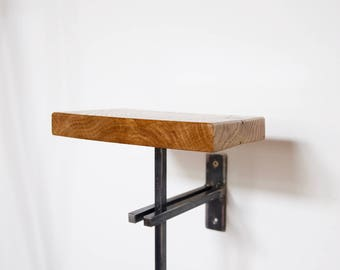 Vintage Industrial Shelf, Oak Top with Steel Bracket - Plant Stand/Phone Holder - Industrial Chic, Art Deco