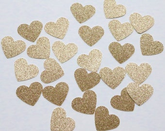 DOUBLE SIDED Champaign Gold Confetti, gold confetti, double sided wedding confetti, heart confetti, gold heart confetti, gold table hearts
