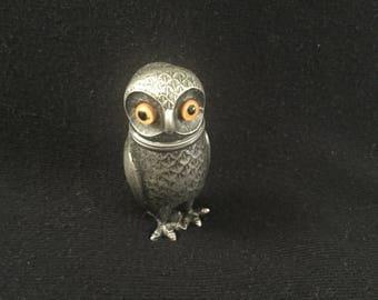 Vintage Owl Vesta Case, Match holder And Striker
