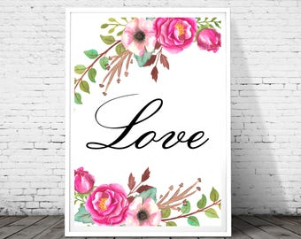 Love Print, Love Letters, Love Sign, Love Wall Art, Love Printable, Love Typography, Love Art Print, floral print, floral letter, watercolor