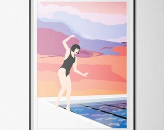 Poster / Affiche A3 - Illustration vectorielle - RISOGRAPHIE - la piscine - femme au bord de l'eau - pastel