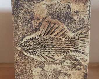 Hand thrown Handmade Slab Built Fish Vase pottery Sgraffito Signed
