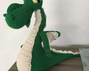 Large handmade crochet green dragon plush toy figure