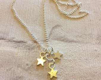 Silver Star Necklace, Silver Necklace, Small Stars Necklace, Star Necklace, Gifts for Women, Silver Stars Pendent, Mothers Day Gift
