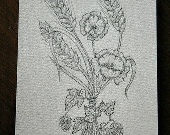 Poppies and hops original pen and ink