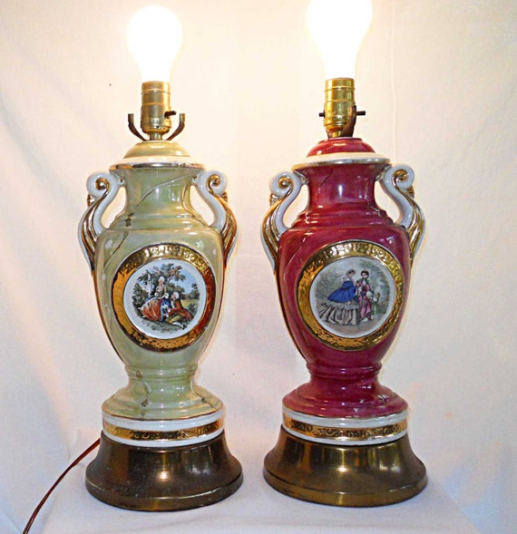 Vintage Antique Lamps Unmatched Pair Classical Urn French