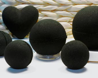 Sale! Obsidian Black Bath Bomb, handmade, bath bombs, custom made to order,black bath, Softens skin (many sizes)