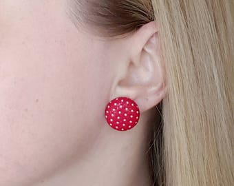 Red polka dot earrings, fabric button earrings, surgical steel posts, retro accessories, retro earrings, pinup style, gift for her, jewelry