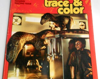 Vintage 1993 JURASSIC PARK Trace And Color Golden Coloring Book Kids Childrens Illustrated Movie Cartoon Drawing