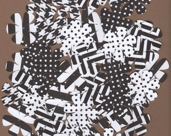 "55 - 1 1/2"" Black and White Flower Die Cuts for Paper Crafts  Set #1309"
