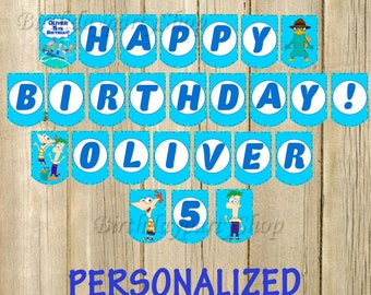 Phineas and Ferb Banner, Phineas and Ferb Birthday Banner, PERSONALIZED, Digital File