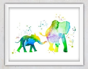 Wall Art Girl Nursery Print, Safari Animals, Home Decor Watercolor Print, Elephants Print, Kids Wall Print, Digital Download Wall Decor Art