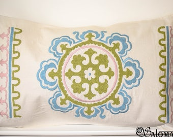 Rectangular suzani, hand embroidered cushions, pillows