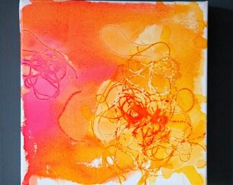 Spring Daffodils Three - Inkwash on Canvas