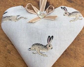 Sophie Allport Hares fabric lavender heart.