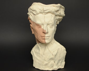 White and red clay sculpture. Plant por or just for decoration. Unique single piece only.