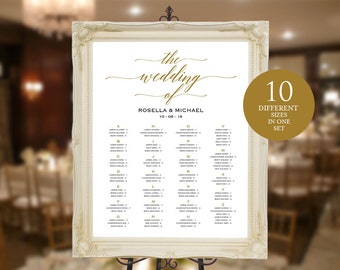 Gold Wedding seating chart, printable, Seating Chart Template, engagement seating chart, Seating Board, Find your seat, WPC_52SD1C