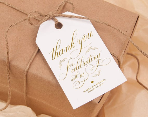 Gold Thank You Tag Gift Tags Wedding Thank You Tags Wedding