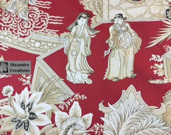 RARE VINTAGE 1978: Opera Chinoise (Cinnabar) Hand Printed in Italy for Clarence House