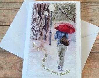 WALK in the RAIN, Watercolour Greeting Cards by Gloria Rogers, FerryStudioArts