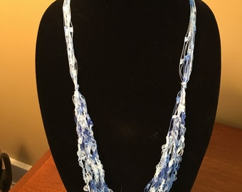 Trellis Ladder ribbon necklace/ltblue