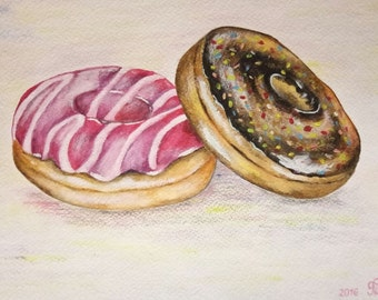 "Donuts painting, Donuts, original painting on watercolor paper 8""x10"",dining room decor, kitchen wall art, home decor."