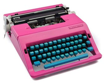 Hot Pink and turquoise typewriter