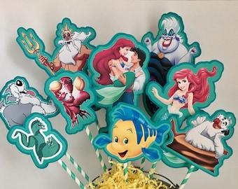 Disney Little Mermaid Set of 9 Centerpiece Picks (Double-Sided)