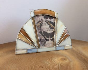 Vintage Stained Glass Art Deco Style Sunray Photo Frame - grey, cream, marbled butterscotch brown