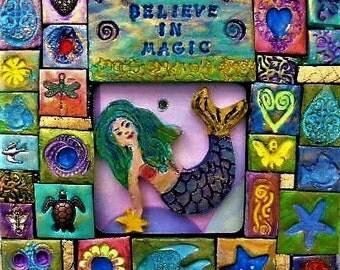 Mermaid, polymer clay mosaic, original art, wall art, wooden plaque