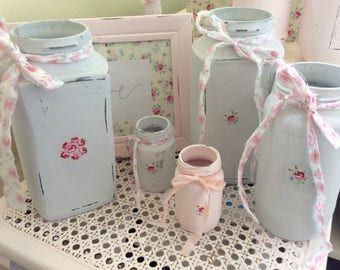 4 Shabby  chic pale grey  pretty   Rose detail jars / Vases / Upcycled / handcrafted / Cath Kidston