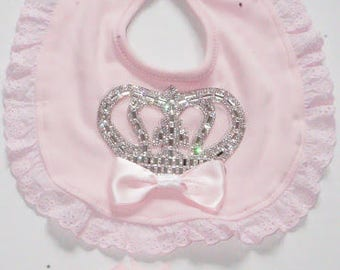 pink or white  bibi with crystal crown+headband/princess bibi/with headband/2pieces gift set