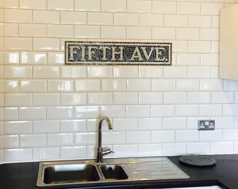 Wedding Gift, Anniversary Gift, Housewarming Gift, Fifth Avenue Subway Sign, Mosaic, Sign, Plaque, Personalised, Word, Name, New York