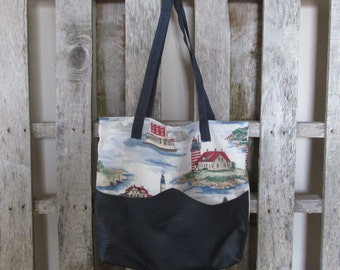 Large Tote Bag Upholstery Lighthouses Beach Bag Ocean