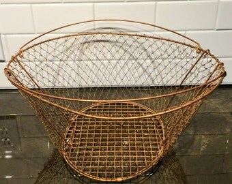 Vintage Copper Collapsible Large Wire Basket
