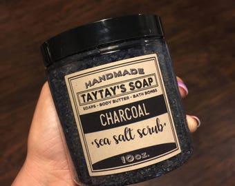 Charcoal Face Scrub - Body Scrub - Salt Scrub - Acne Scrub - TayTaysSoap