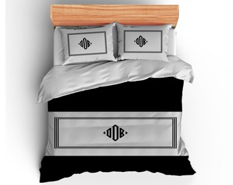 Diamond Monogram Personalized Bed Runner, Bed Scarf, Bedding & coordinate Pillows