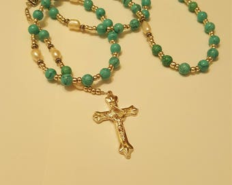 Rosary!!! Turquoise and Fresh Water Pearls with Silver color Seed Beads! 1 Avalible Now!!!