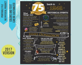 75th Birthday Poster, 75th Birthday Chalkboard, 75th Anniversary Poster, 75th Birthday Gift, back in 1942, 75 years ago, born in 1942