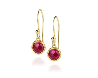 Dosha Earrings - Gold - Pink Agate