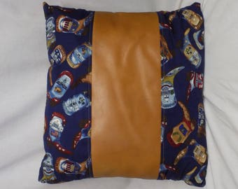 Tan Leather and Blue Boot Print Pillow