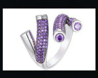 White Gold Filled Purple CZ Adjustable Ring