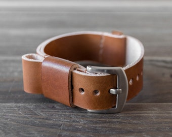 Leather Nato Watch Strap / Custom Walnut Brown Vegetable Tanned Leather Watch Band / 18mm 20mm 22mm for Timex Daniel Wellington & more